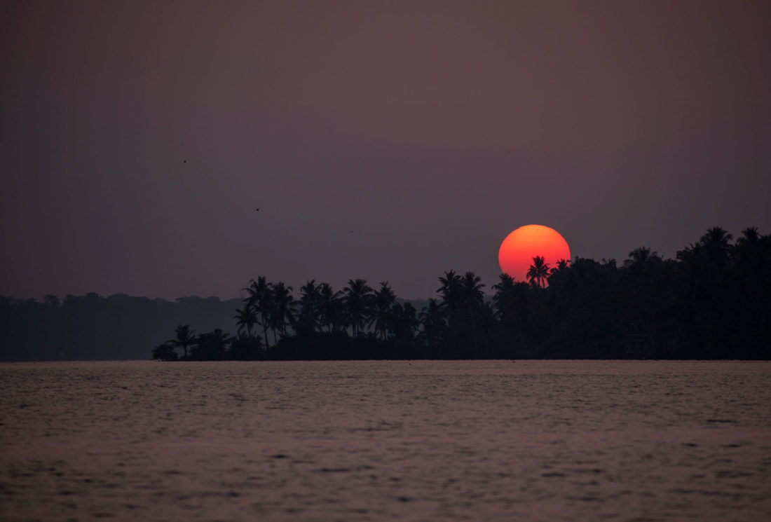 Sunset during canoe ride in Munroe Island, Kerala